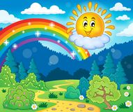 Tema de la primavera con el sol alegre stock de ilustración