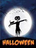 Tema de la silueta del espantapájaros de Halloween - ejemplo del vector eps10 stock de ilustración