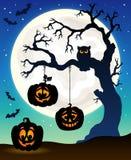 Tema 5 de la silueta del árbol de Halloween Imagen de archivo libre de regalías