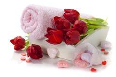 Tema de la tarjeta del día de San Valentín del baño y del balneario Foto de archivo libre de regalías