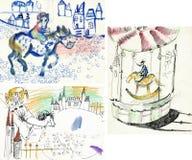 Tema de los caballos ilustración del vector