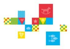 Tema de los niños Vector los elementos para el diseño del cuarto del ` s de los niños, haga compras, haga compras ventana Bosquej Foto de archivo libre de regalías