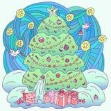 Tema de Navidad del libro de colorear Foto de archivo libre de regalías