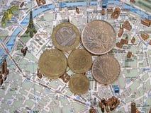 Tema de París Fondo plano de la disposición de los símbolos de Francia foto de archivo libre de regalías