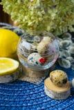 Tema de Pascua, decoración del día de fiesta, limón, pequeños tocones, wi del gatito Foto de archivo libre de regalías
