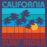 Tema de practicar surf con el texto California, jinete de la resaca Fotografía de archivo
