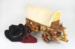 Tema de Westen con el carro cubierto Fotografía de archivo libre de regalías