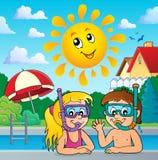 Tema 3 degli operatori subacquei della presa d'aria dei bambini illustrazione vettoriale