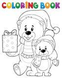 Tema 1 degli orsi di Natale del libro da colorare illustrazione di stock
