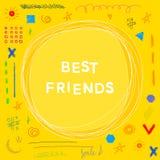 Tema dei migliori amici Modello fatto a mano della carta di scarabocchio divertente Fotografia Stock Libera da Diritti