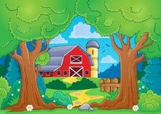 Tema del árbol con la granja 4 Imágenes de archivo libres de regalías