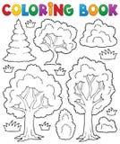Tema 1 del árbol del libro de colorear Foto de archivo libre de regalías