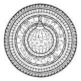 Tema del Año Nuevo Bola de la Navidad del garabato en el ornamento étnico del círculo stock de ilustración