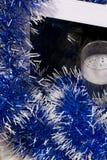Tema del Año Nuevo PC de la tableta en la malla Foto de archivo libre de regalías
