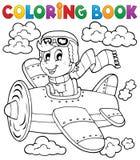 Tema 1 del aeroplano del libro de colorear ilustración del vector