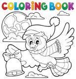 Tema 1 del búho de la Navidad del libro de colorear Imagen de archivo libre de regalías