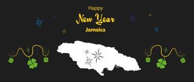 Tema del buon anno con la mappa della Giamaica Fotografie Stock Libere da Diritti