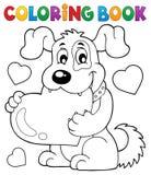 Tema 1 del cane del biglietto di S. Valentino del libro da colorare Fotografie Stock Libere da Diritti