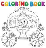 Tema 1 del carro de la princesa del libro de colorear stock de ilustración