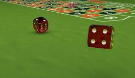 Tema del casinò, giocando i chip ed i dadi su una tavola di gioco, illustrazione 3d Fotografie Stock Libere da Diritti