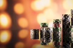 Tema del casino con las luces del bokeh Foto de archivo