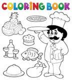 Tema 3 del cocinero del libro de colorear Imagenes de archivo