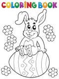 Tema 5 del conejo de Pascua del libro de colorear ilustración del vector