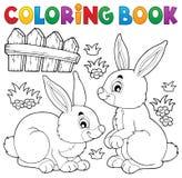 Tema 1 del conejo del libro de colorear stock de ilustración