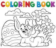 Tema 2 del coniglio di Pasqua del libro da colorare Immagini Stock Libere da Diritti