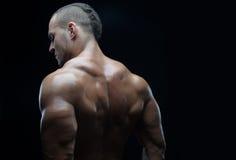 Tema del culturista y de la tira: hermoso con el hombre desnudo bombeado de los músculos que presenta en el estudio en un fondo o Imagenes de archivo