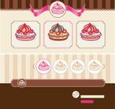 Tema del dessert per il modello Web Fotografie Stock Libere da Diritti