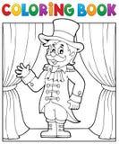 Tema 1 del director de pista de circo del circo del libro de colorear Fotografía de archivo libre de regalías