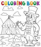 Tema 2 del director de pista de circo del circo del libro de colorear Imagen de archivo