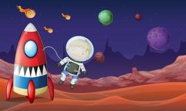 Tema del espacio con el vuelo del astronauta fuera de la nave espacial Fotos de archivo libres de regalías