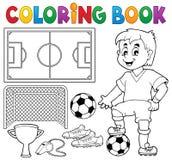 Tema 1 del fútbol del libro de colorear Imagen de archivo