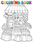 Tema 2 del granjero del libro de colorear ilustración del vector