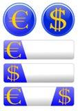 Tema del icono con el euro y el dólar Foto de archivo libre de regalías