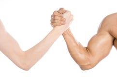Tema del levantamiento de pesas y de la aptitud: mano fina del pulso y un brazo fuerte grande aislado en el fondo blanco en estud Imagenes de archivo