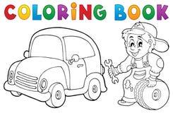 Tema 1 del mecánico de coche de libro de colorear stock de ilustración