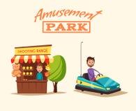 Tema del parque de atracciones Ilustración del vector de la historieta Buenas emociones libre illustration