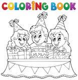 Tema 1 del partito dei bambini del libro da colorare Fotografie Stock