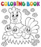 Tema 1 del pollo del libro da colorare Fotografia Stock