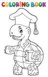 Tema 1 del profesor de la tortuga del libro de colorear Imagen de archivo