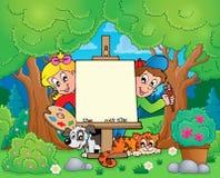Tema del árbol con los niños de la pintura Foto de archivo libre de regalías