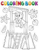 Tema 1 del silvicoltore del libro da colorare illustrazione di stock