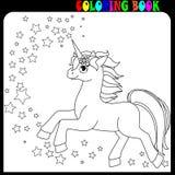 Tema del unicornio, del caballo o del potro del libro de colorear con las estrellas fotografía de archivo libre de regalías