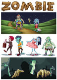 Tema del zombi con los zombis que caminan en el parque en la noche Imagen de archivo
