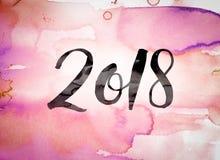 Tema 2018 dell'acquerello di concetto Fotografia Stock Libera da Diritti