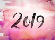 Tema 2019 dell'acquerello di concetto Fotografia Stock