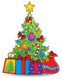Tema 6 dell'albero di Natale Fotografia Stock Libera da Diritti